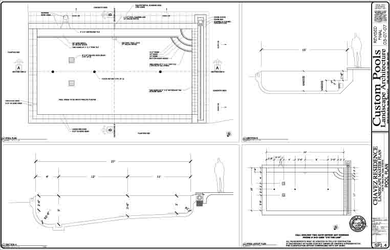 Swimming pool pool design pool construction pool spa for Pool design drawings